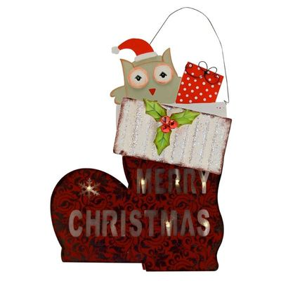 Merry Christmas Boot Plaque with Lights
