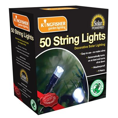 Kingfisher Solar Powered String Lights - 50 pack - Boxed