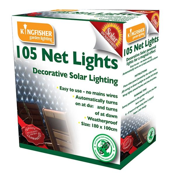 Kingfisher Solar Powered Net Lights - Packaged