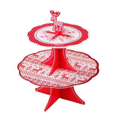 Cross Stitch Christmas Cake Stand