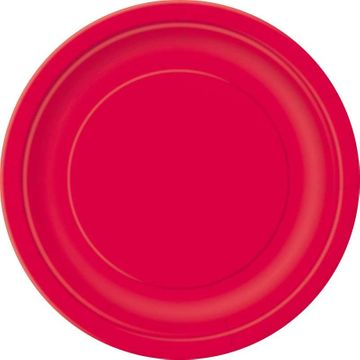Red 9 inch round plate