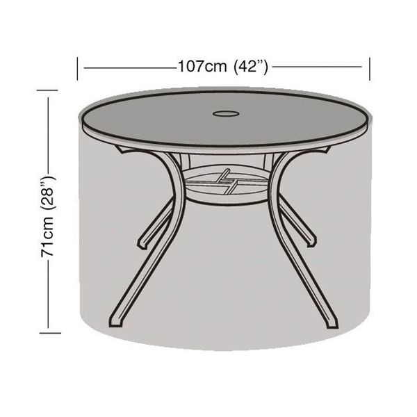 Garland 4 Seater Round Furniture Cover - Dimensions
