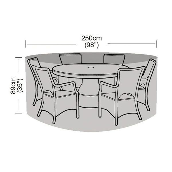 Garland 6-8 Seater Round Patio Set Cover - Dimensions
