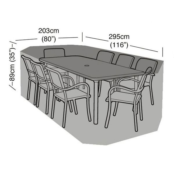 Garland 8 Seater Rectangular Furniture Set Cover - Dimensions
