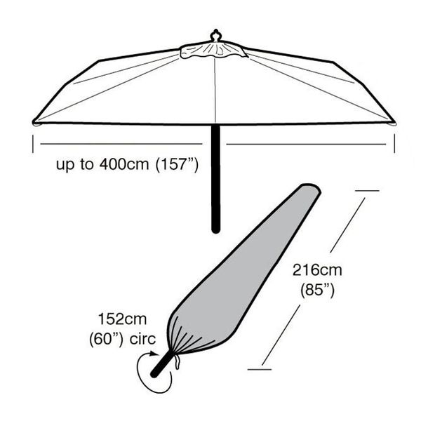 Garland Extra Large Parasol Cover - Dimensions