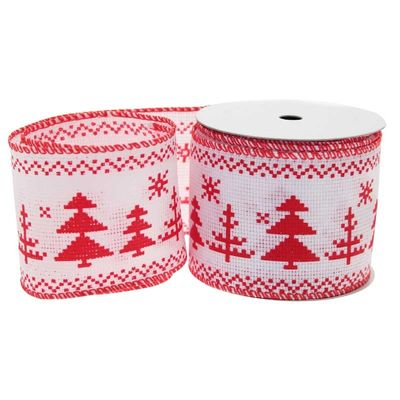 White/Red Christmas Tree Ribbon (63mm)