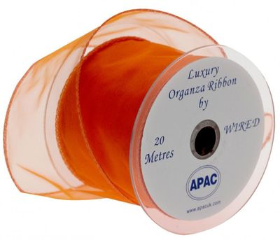 70mm Orange Wired Chiffon Ribbon