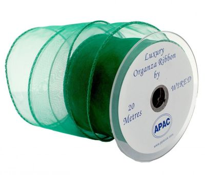 70mm Emerald Wired Chiffon Ribbon