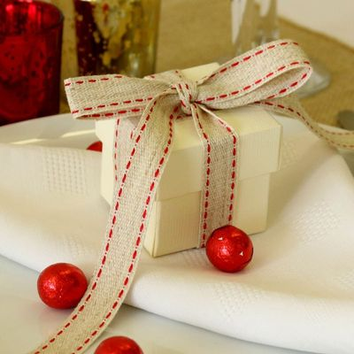 Rustic Woven Ribbon with Delicate Red Stitch Detail