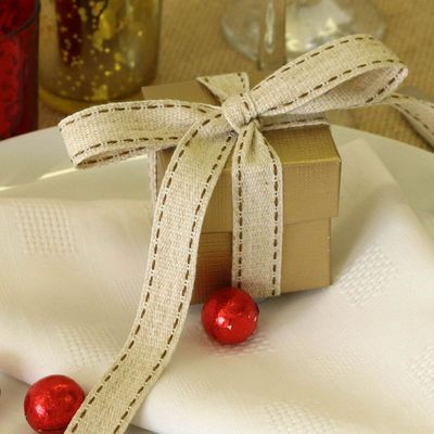 Rustic Woven Ribbon with Delicate Stitch Detail