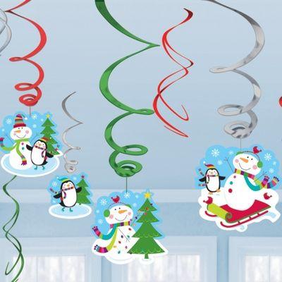 Joyful Snowman Party Hanging Swirls