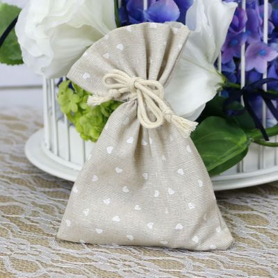Mini Hearts Hessian Favour Bag