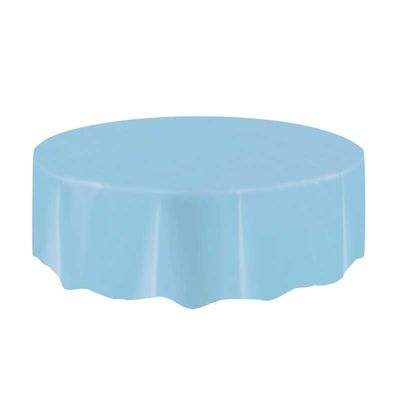 Light Blue Round Plastic Tablecloth