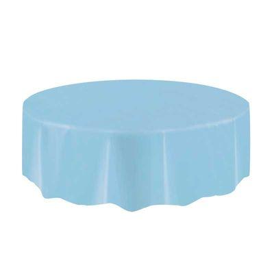 Light Blue Round Plastic Tablecloth