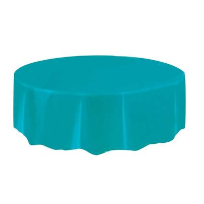 Teal Blue Round Plastic Tablecloth