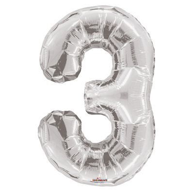 Silver 3 Big Number Balloon