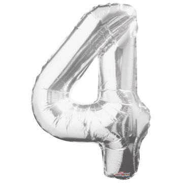 Big Number Balloon silver 4