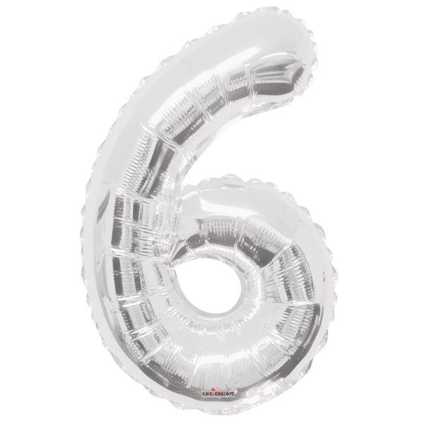 Silver 6 Big Number Balloon