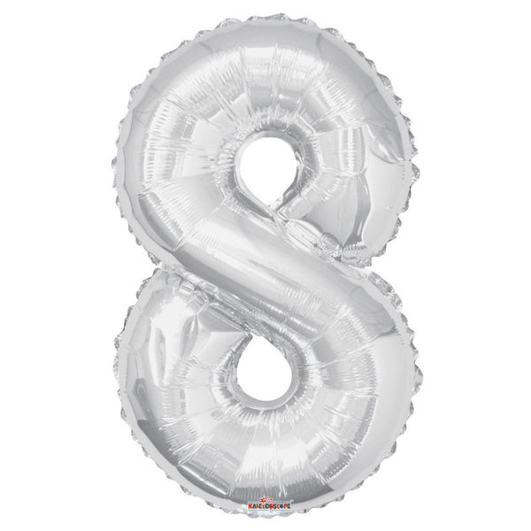 Silver 8 Big Number Balloon