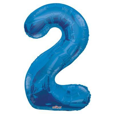 Blue 2 Big Number Balloon