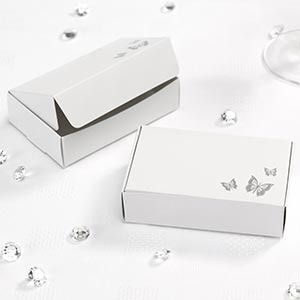 White and Silver Butterfly Cake Boxes