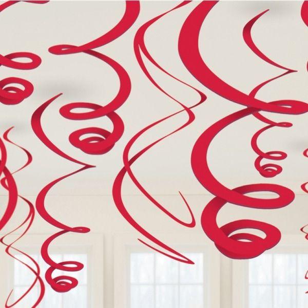 Decorations Red Hanging Swirl Decorations - 55cm