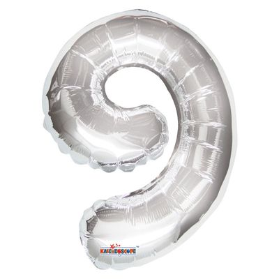 Silver Number 9 Foil Balloon