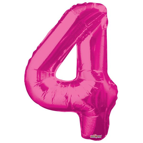 Hot Pink Foil Balloon - Age 4