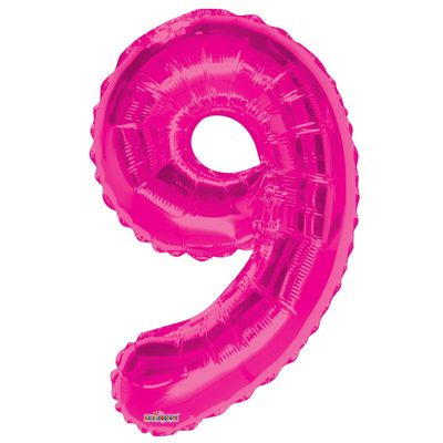 Hot Pink Foil Balloon - Age 9