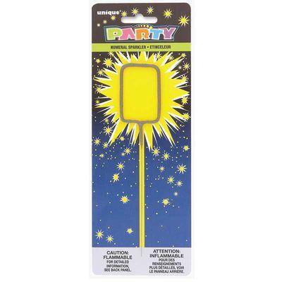 Number 0 Sparkler Candle