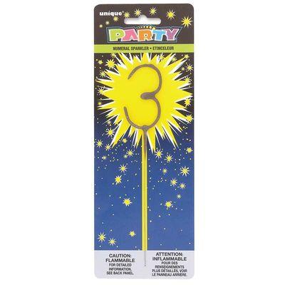 Number 3 Sparkler Candle