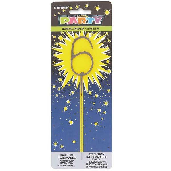 Number 6 Sparkler Candle