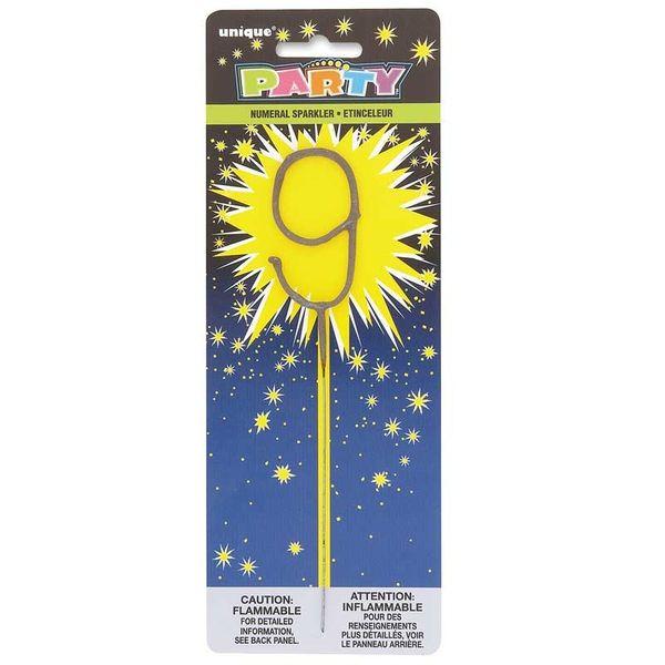 Number 9 Sparkler Candle
