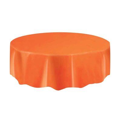 Orange Round Plastic Table Cover