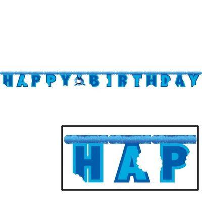 Large Shark Splash Jointed Happy Birthday Banner