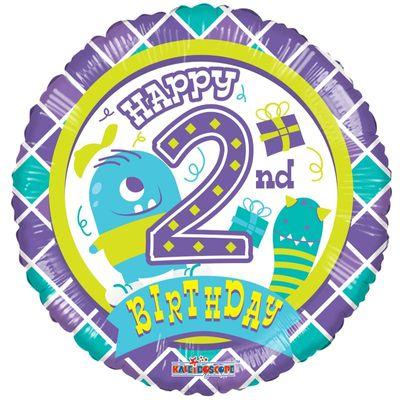 2nd Birthday Boy Monster Balloon