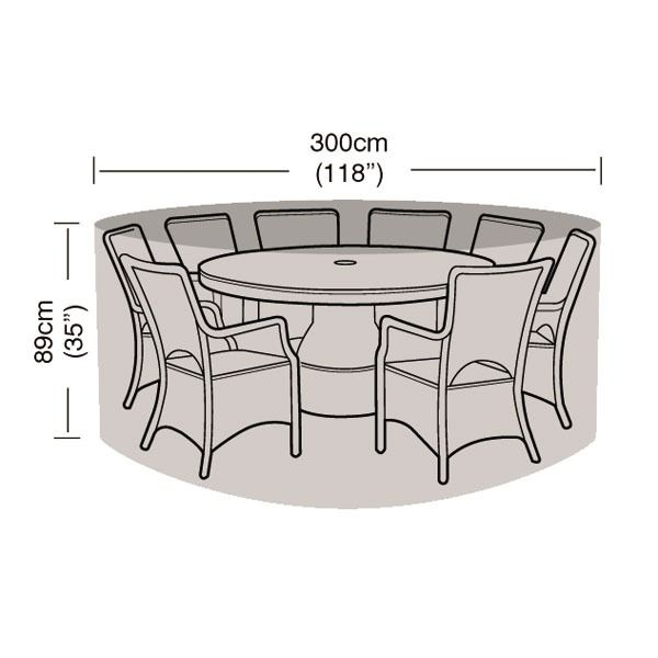 Garland 8 Seater Patio Set Cover - Dimensions