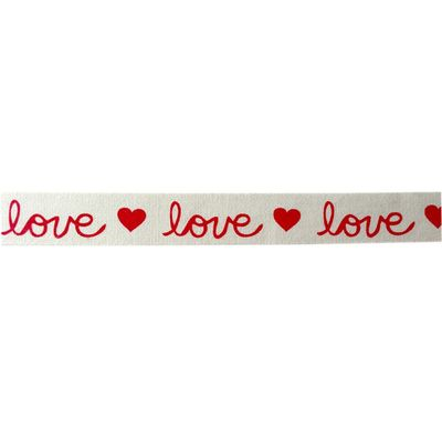 Cream Cotton ReD Hearts Love Ribbon