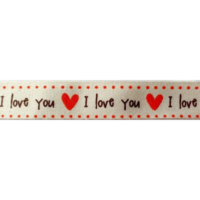 Cream Cotton With I Love You Red Hearts Ribbon