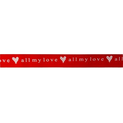 Red with White All My Love Ribbon