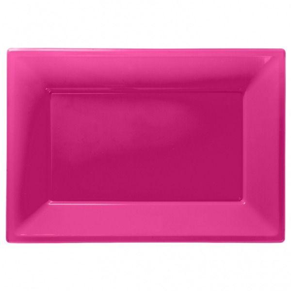 Hot Pink Plastic Platters