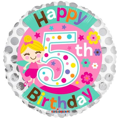 5th Birthday Fairy Foil Balloon