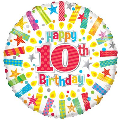 10th Birthday Radiant Candle Foil Balloon