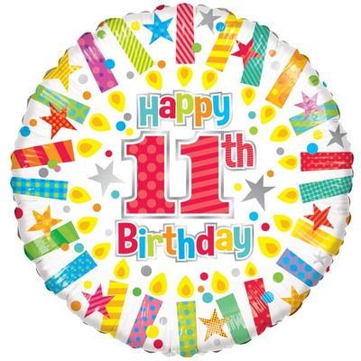 11th Birthday Radiant Candle Foil Balloon