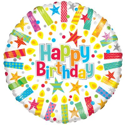 Happy Birthday Radiant Candles Foil Balloon
