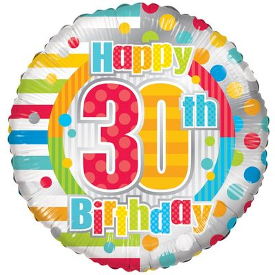 Radiant Happy 30th Birthday Balloon