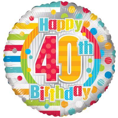 Radiant Happy 40th Birthday Balloon
