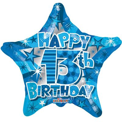 Happy 13th Blue Star Birthday Balloon
