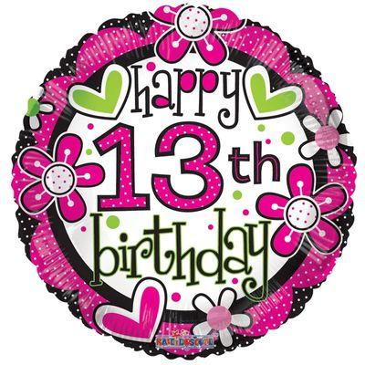 Happy 13th Birthday Flower Balloon