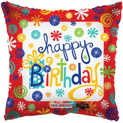Happy Birthday Swirls Pillow Balloon